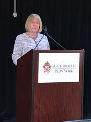 Former federal judge Barbara Jones speaks about her report and recommendations on the Roman Catholic Archdiocese of New York's handling of sex-abuse complaints, Monday, Sept. 30, 2019.