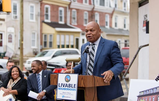 Theo Gregory, former Wilmington Council President, makes remarks in 2016.