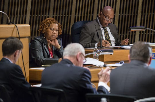 Former Wilmington City Council President Theo Gregory and current city council president Hanifa Shabazz attend a Public Safety Committee meeting in 2015.