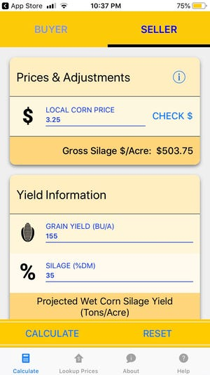 The Extension corn silage pricing app allows buyers and sellers to enter their own yield estimates and harvest costs with links to current corn and hay markets for reference pricing.
