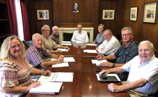 The Zanesville Canal & Manufacturing Company Board of Directors met recently to attend to the work of managing the John McIntire Estate. Those pictured include Kaleen Blosser, with Huntington Bank, and board members Tim Linn, Mike LaPlante, Milman Linn III, Bill Stewart, Marion Gilliland, Brent Stubbins,  Jack Joseph,  and Fred Grant. Also serving, but not pictured, is Craig Ballas.