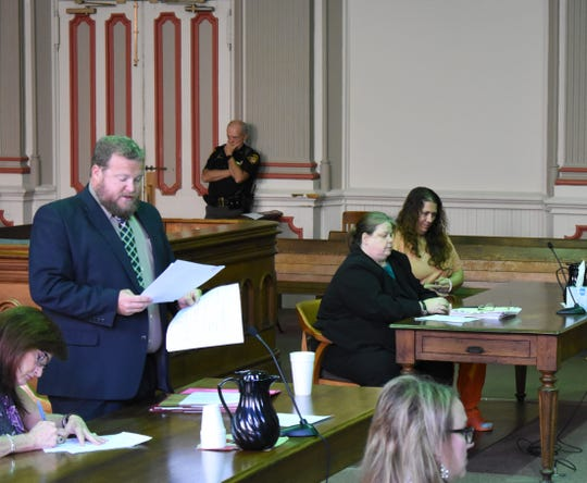 Kelly Young listens from across the courtroom as Muskingum County Assistant Prosecutor John Litle addresses Judge Mark Fleegle. Young admitted to using meth while pregnant and on probation, her probation officer said. She was sentenced to 11 months in prison.