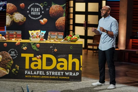 "John Sorial, and an entrepreneur from Virginia, presents his frozen Mediterranean cuisine brand TaDah!, hoping for a boost from the investors on ""Shark Tank."""