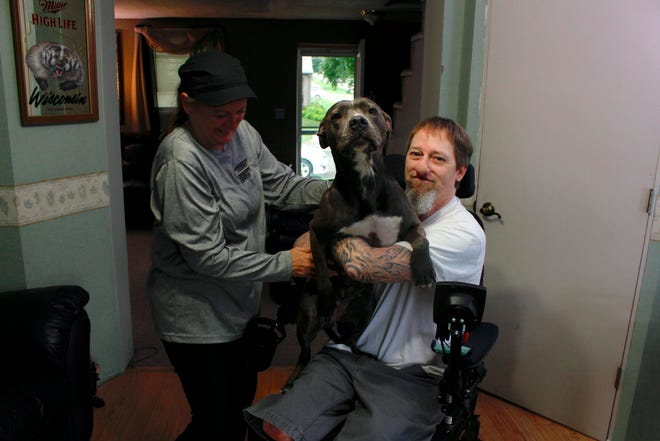 In this Aug. 16, 2019 photo, Greg Manteufel takes his dog Ellie from his wife Dawn Manteufel at their home in West Bend, Wis. He lost parts of his arms and legs, as well as the skin of his nose and part of his upper lip from capnocytophaga, a bacteria commonly found in the saliva or cats and dogs that almost never leads to people getting sick, unless the person has a compromised immune system. Manteufel was perfectly healthy when he got sick in June of 2018.