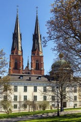 Uppsala Cathedral gazes right across a square at the Gustavianum museum, housing a collection of Viking artifacts, a cabinet of miniature curiosities, the first thermometer Anders Celsius made according to his own scale.