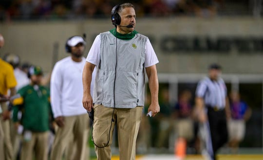 Baylor coach Matt Rhule watches his team during its game against Stephen F. Austin Lumberjacks at McLane Stadium.
