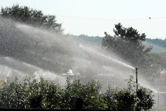 Sprinklers spray water on plants at Green Valley Farms, a commercial nursery in Montevallo, Ala., on Sept. 26, 2019. Weeks of dry, hot weather across the Deep South have worsened a drought.