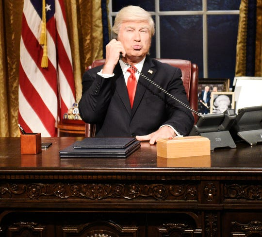 """SATURDAY NIGHT LIVE -- """"Woody Harrelson"""" Episode 1768 -- Pictured: Alec Baldwin as Donald Trump during the """"Impeachment"""" Cold Open on Saturday, September 28, 2019 -- (Photo by: Will Heath/NBC)"""