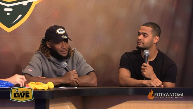 Green Bay Packers running back Aaron Jones (left) co-hosted Monday's Clubhouse Live show in Appleton. Packers rookie wide receiver Darrius Shepherd was the guest.