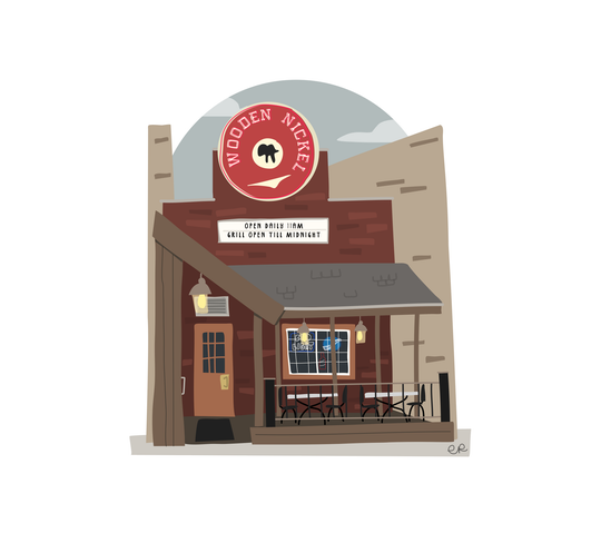 The Wooden Nickel is one of many downtown Appleton locations drawn by Emily Reetz.