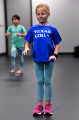 Addie Diehl thinks about her next step in her jazz dance class at Dance Discovery Studios Sept. 25.
