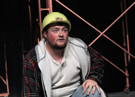 "Dylan Scott tells his story of being an ironworker on big-city high-risers in this rehearsal scene from Hardin-Simmons University's ""Working: A Musical!"" It plays Thursday-Sunday at Van Ellis Theatre."