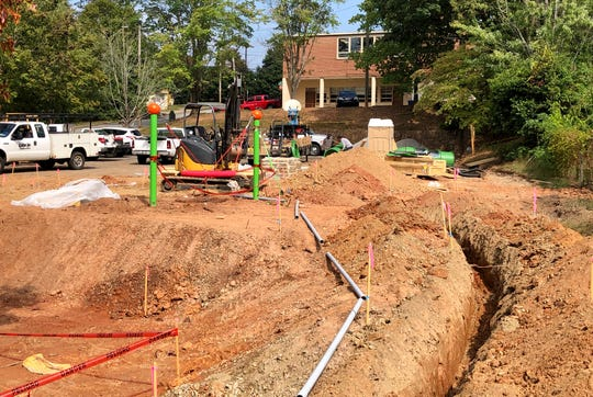 Work at the Augusta Barnett Park playground will take several months to complete. The site is very small, making it difficult to utilize larger construction equipment, the city of Asheville said.