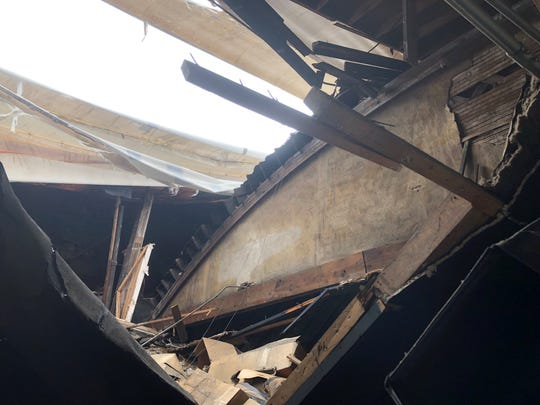 This is a look at the damage on the inside of the old Arcadia Brewing Co. building.