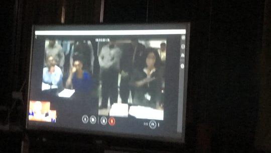 Prosecutor, right, questions Haley Anderson's friend Josephine Artin. Orlando Tercero at left.