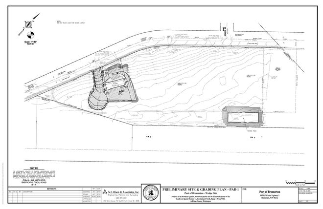 A site plan for a proposed 5,300-square-foot building on Port of Bremerton property west of Highway 3.