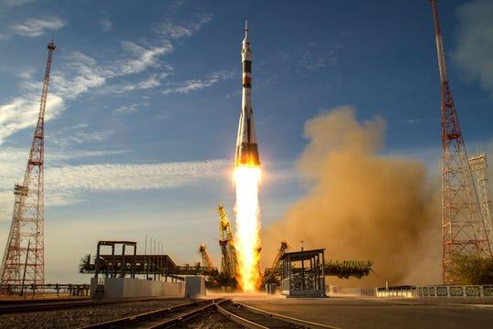 Soyuz rocket take off from Baikonur, Russia.
