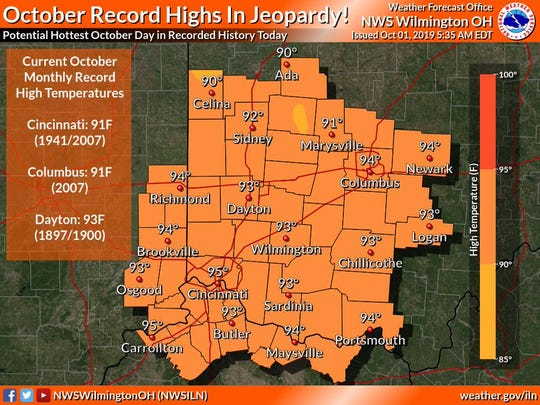 Tuesday could be the hottest day in Cincinnati ever recorded, the National Weather Service said.