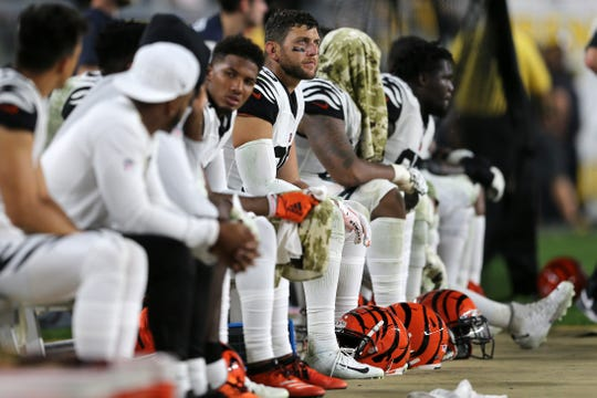 Cincinnati Bengals tight end Tyler Eifert (85) and the offense sit on the bench in the fourth quarter of an NFL Week 4 game, Monday, Sept. 30, 2019, at Heinz Field in Pittsburgh. Pittsburgh Steelers lead 10-3 at halftime. The Pittsburgh Steelers won 27-3. The Cincinnati Bengals fell to 0-4 on the season.
