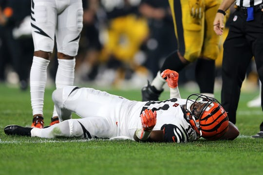 Bengals wide receiver John Ross shown injured in the fourth quarter of a game against the Steelers on Sept. 30.