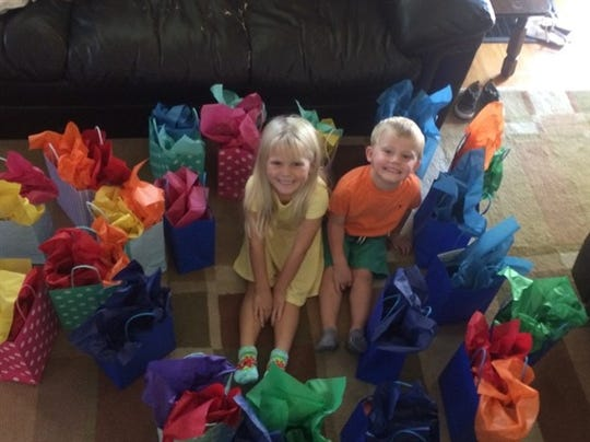 Gift bags for children made from blank check from church.