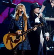 Nancy Wilson and Ann Wilson of Heart perform at the Rock and Roll Hall of Fame Induction Ceremony on April 18 in Los Angeles.