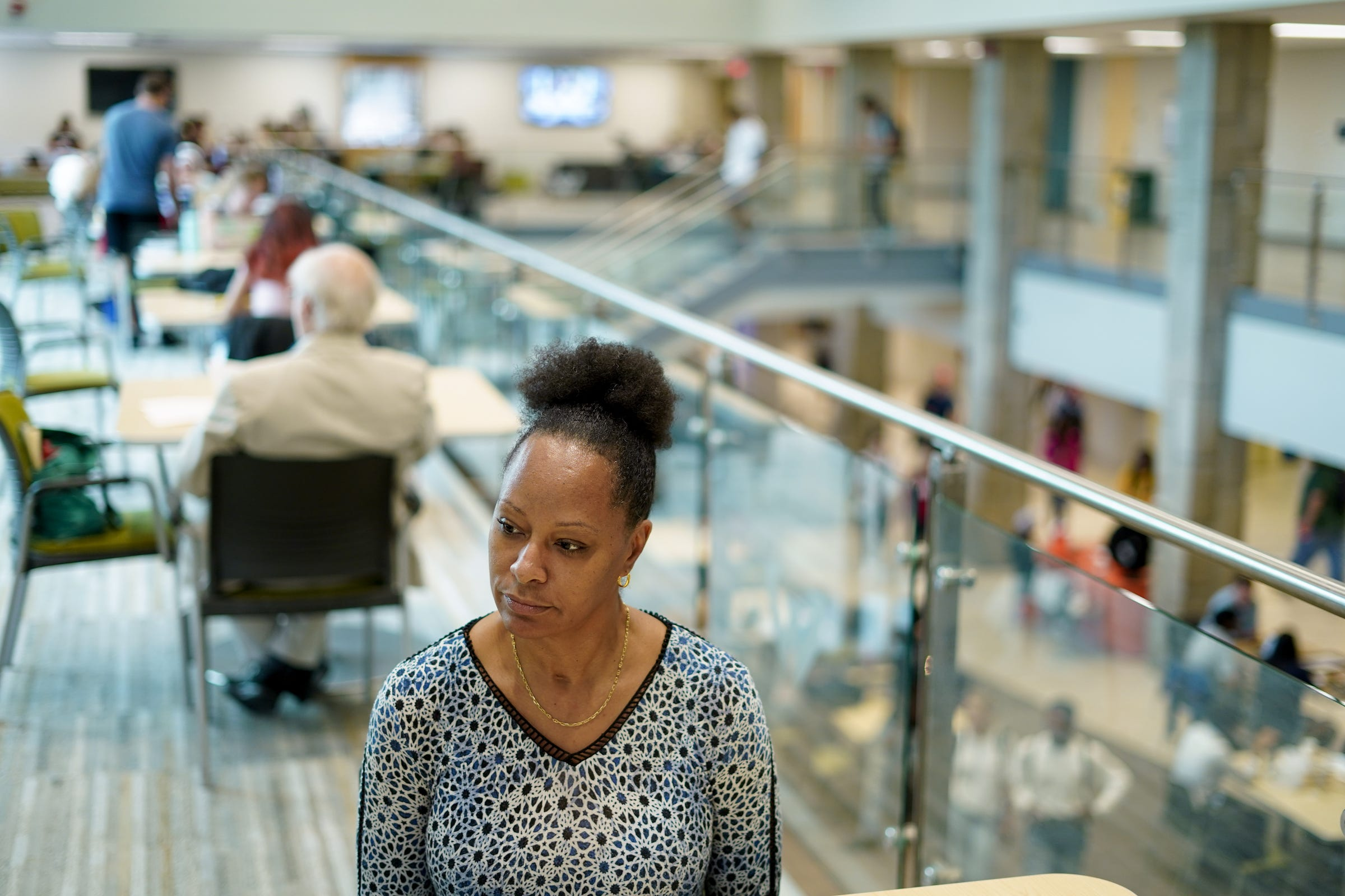 Wayne State University student Staci Irvin of Detroit talks about her concerns with student loans at the Wayne State University Student Center in Detroit on Wednesday, Sept. 4, 2019.