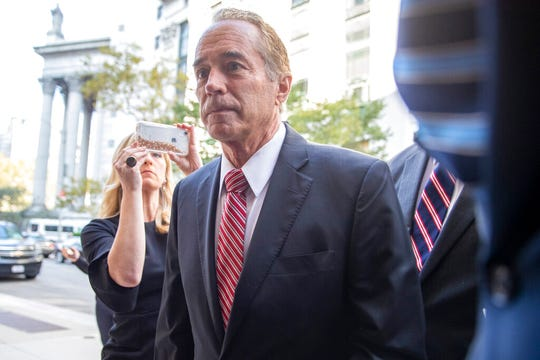 Former U.S. Rep. Chris Collins arrives at Federal court, Tuesday, Oct. 1, 2019, in New York. Collins pleaded guilty in an insider trading case Tuesday, a day after saying he was quitting Congress.