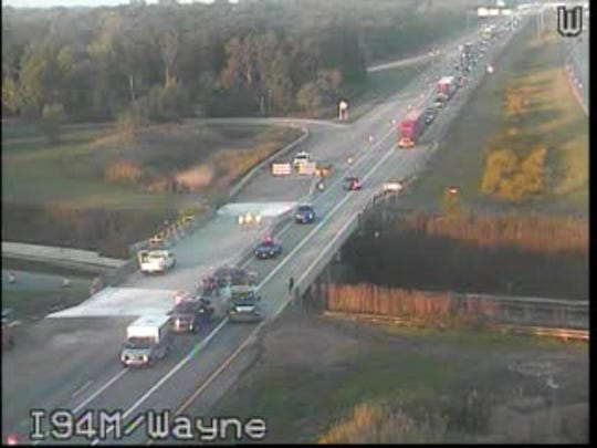 MDOT officials said EB I-94 is closed at Wayne Road due to a crash.