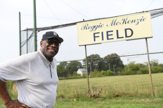 Former Michigan and NFL player Reggie McKenzie at the field named after him in Highland Park, Mich. on Sept. 10, 2019.  McKenzie started the Reggie McKenzie Foundation which offers sports clinics to youth.