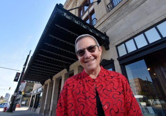 DSO President and CEO Anne Parsons poses in front of the original entrance to Orchestra Hall, built in 1919.