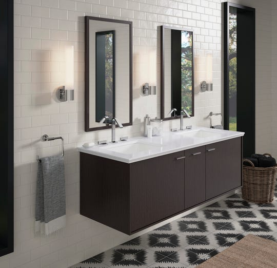 A wall-hung vanity opens up space in a tight bathroom and allows for storage space. (Kohler)