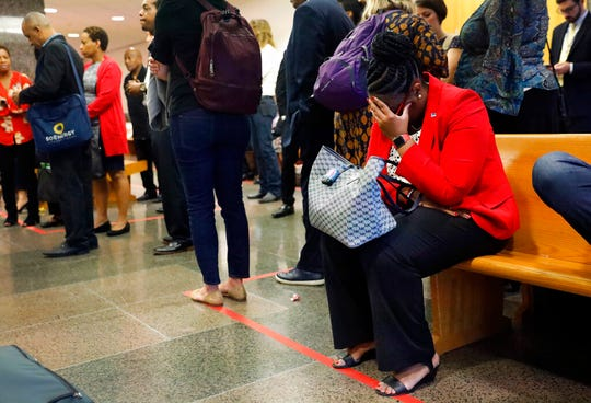 Allison Jean, mother of murder victim Botham Jean, waits outside the courtroom, Monday, Sept. 23, 2019, in Dallas.