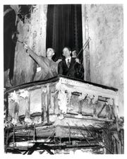 DSO music director Sixten Ehrling and Concertmaster Gordon Staples survey the ruins of Orchestra Hall in the early 1970s.