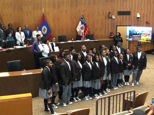 """The Detroit Youth Choir, which recently finished second on NBC's """"America's Got Talent,"""" was bestowed with Spirit of Detroit awards Tuesday by the Detroit City Council."""