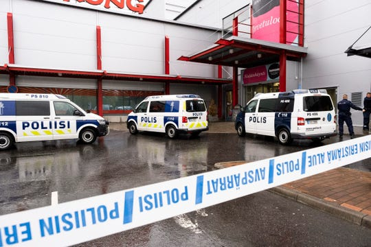Police attend the scene of a violent incident at the Hermanni shopping centre in Kuopio, Finland, Tuesday Oct. 1, 2019.