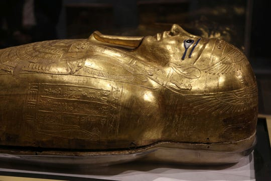 Egypt is displaying the gilded ancient coffin returned to the country last week from New York's Metropolitan Museum of Art after U.S. investigators determined to be a looted antiquity.