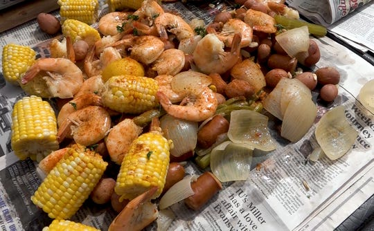 Finished products of Aimee Blume's Tailgate Shrimp Boil.