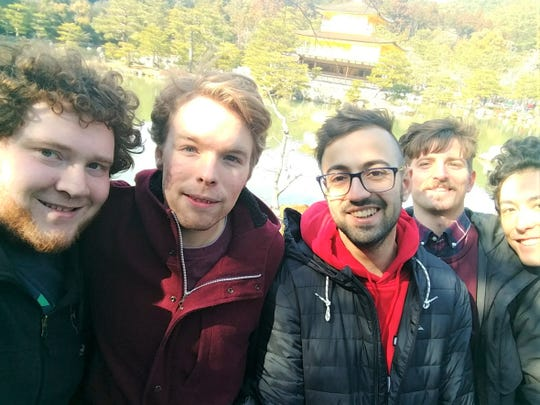 Benjamin David at far left with other exchange students at a temple in Kyoto.