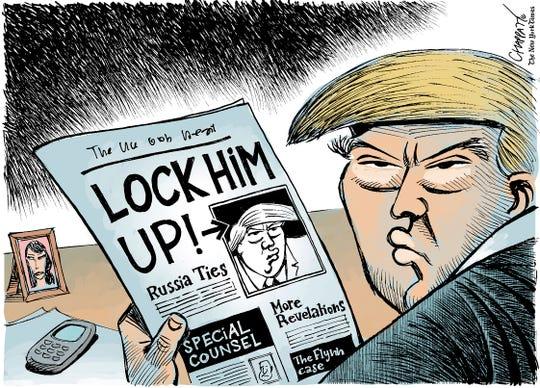 """""""Lock him up!"""" Trump and Flynn."""