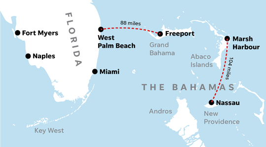 Map of the Bahamas and Florida.