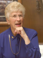 Judy Martz became the first woman elected Montana governor at her 2001 swearing in. She's pictured on her birthday, July 28, 2004.