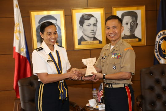 A Bilateral Exchange Calendar Board  was held Sept. 12 in Manila, with representatives from the Guam National Guard, the Hawaii National Guard and the Armed Forces of the Philippines in attendance. Major General Esther J.C. Aguigui, The Adjutant General of the Guam National Guard, poses for a photo with Marine Corps. Major General Dante Hidalgo, Commander, Naval Reserve Command, Armed Forces of the Philippines. The office call is part of the National Guard Bureau's State Partnership Program, in which the Armed Forces of the Philippines is a partner with the Guam National Guard and the Hawaii National Guard.