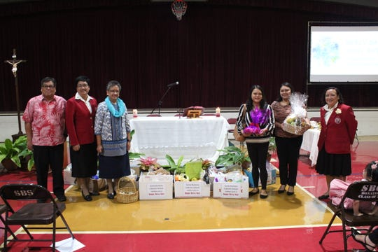 SBCS also donated fruits and vegetables to Alee Shelter as part of Mercy Day and the season of creation celebration. From left: Superintendent Juan Flores of the Office of Catholic Education joined Sister Maria Rosario Gaite, RSM, Sister Marian Arroyo, RSM and representatives from Alee Shelter, Octavia Cruz and Benalyn Naputi, and SBCS Assistant to the Principal for Formation Bernadette Alcantara.
