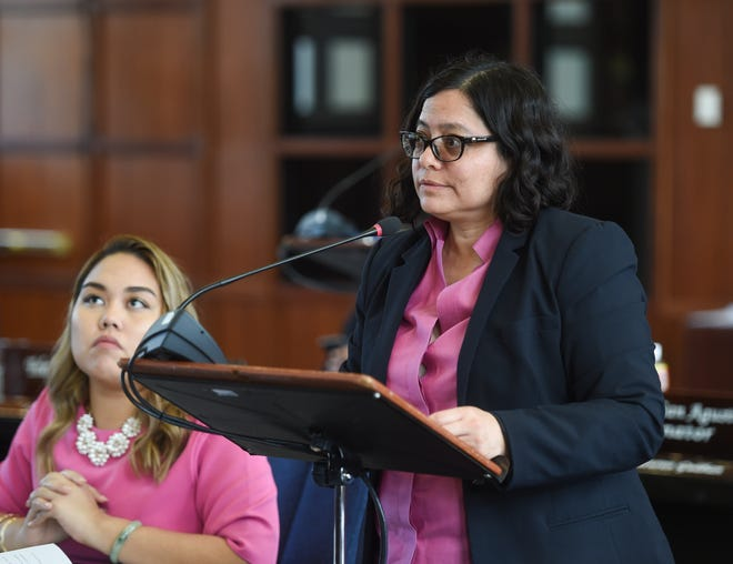 Sen. Sabina Perez is shown on the session floor at the Guam Congress Building in Hagåtña in this Oct. 1 file photo.