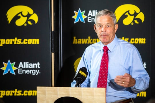 Iowa head coach Kirk Ferentz speaks with reporters, Tuesday, Oct., 1, 2019, at the Hansen Football Performance Center in Iowa City, Iowa.