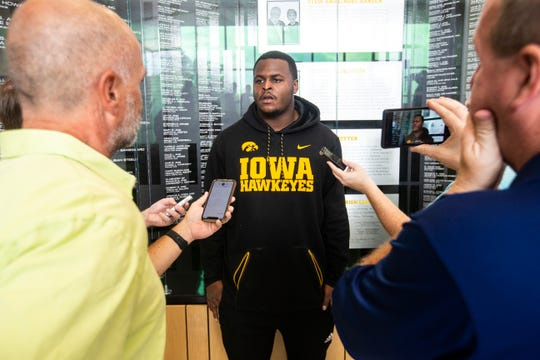 Iowa defensive lineman Cedrick Lattimore speaks with reporters, Tuesday, Oct., 1, 2019, at the Hansen Football Performance Center in Iowa City, Iowa.