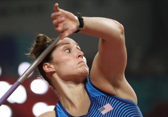 Kara Winger, of the United States, competes in the women's javelin throw at the World Athletics Championships in Doha, Qatar, Monday, Sept. 30, 2019.