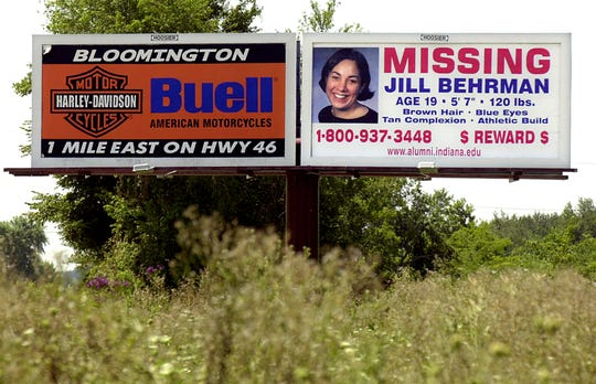 A billboard on Route 37 South kept the community on the look-out for missing Indiana University student Jill Behrman in August 2000.