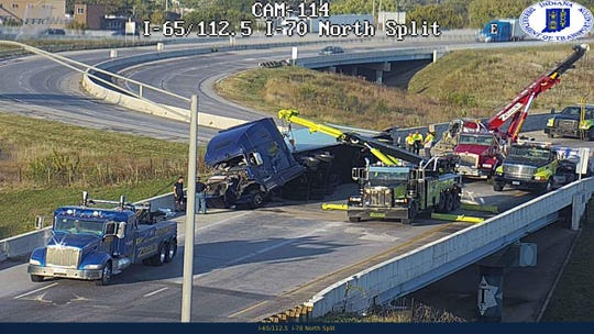All northbound lanes of I-65 near the North Split closed around 5:30 p.m. Tuesday after a semi-trailer truck overturned, INDOT said.